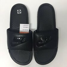New Nike Benassi JDI Slides Slip Ons Black/Black-Black 343880 001 Mens Size 12