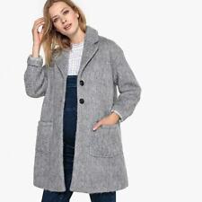 La Redoute Grey Wool Maternity Coat Size 16 Soft Smart Button Front RRP £135