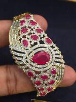 Pave 4,54 Cts Runde Brilliant Cut Diamanten Armreif Bracelet In 585 14K Gelbgold
