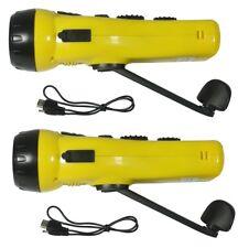 2)Survival Emergency Hand Crank Dynamo 3-LED Flashlight AM/FM Radio USB Charger