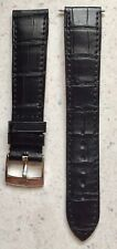 Genuine Omega Black Leather Watch Band Strap 19mm Silver Tone Buckle