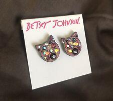 Genuine Betsey Johnson Hello Kitty Cat Earings Jewel Diamond Stud Set