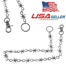"1piece 26"" Fashion Chrome Barb Wire Biker Trucker Jeans Wallet Thick Heavy Chain"