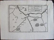 CARTE GOUVERNEMENT DE BAYONNE . Par TASSIN. Carte originale de 1633.  Dimensions