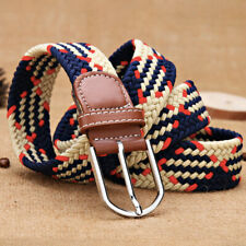 Men's Stretch Belt Braided Elastic Casual Woven Canvas Fabric Belt