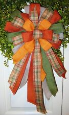 FALL WIRED BOW for FLORAL DOOR WREATH SWAG GARLAND MAIL FENCE POST # B12