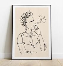 More details for frida kahlo print, minimal line art print, frida kahlo art print, wall art