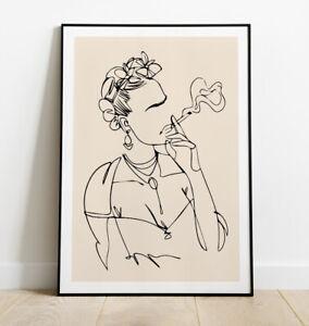 Frida Kahlo Print, Minimal Line Art Print, Frida Kahlo Art Print, Wall Art
