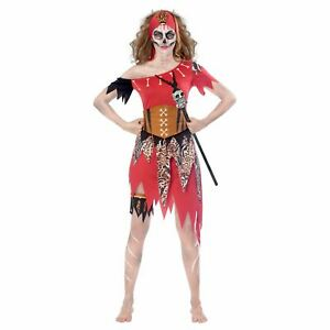 Womens Witch Doctor Costume Voodoo Black Magic Halloween Fancy Dress Outfit