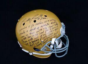 Rudy Ruettiger Notre Dame Signed Movie Speech Full Size Gold Replica Helmet JSA