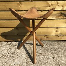 Vintage Leather Tripod Hiking Camping Stool