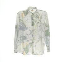Herren Vintage Hemd Langarm Größe XL Freizeit Shirt Aquarell Muster Print Retro