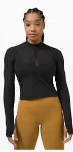 NWT LULULEMON Gloss Trim Run 1/2 Zip Long Sleeve Black Sz 8 Perfect For Layering