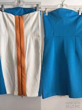 NWT ZARA W&B WOMENS SZ XS ORANGE BLUE WHITE COLOR BLOCK BODYCON FITTED DRESS A59