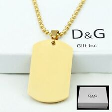"DG Men's 30"" Stainless Steel,Gold DOG TAGS,Pendant,Ball Chain Necklaces + BOX"
