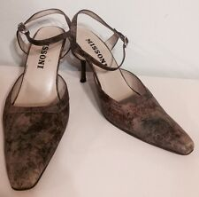 Missoni Slingbacks Sandal Ankle Strap Heel 3'' Shoes Brown Leather Sz 36