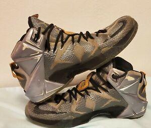 Nike LeBron XII 12 Men's Sz 11 Flight Pack Sneaker Wolf Grey Citrus 684593-080