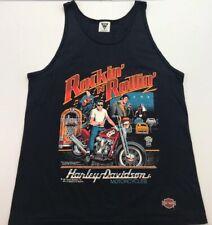 1987 Black Rockin N Rollin Harley Davidson Motorcycle Elvis Tank Top Sz L
