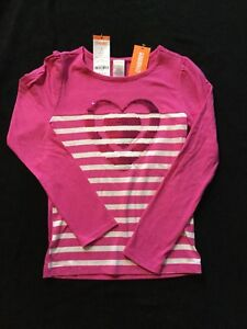 Gymboree Size 8 NWT Hot Pink Sequin Heart Long Sleeve Shirt With White Stripes