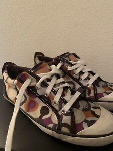 Coach Barrett Sneakers Style 0322  Women's US Size 10 White Orange Purple