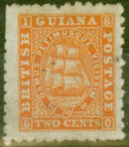 British Guiana 1868 2c Orange SG87 P. 10 Ave Unused Ex- Fred Small