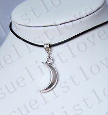 Moon Crescent Charm Pendant Choker Necklace with Black Genuine Leather Cord Hot