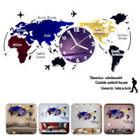 Colorful World Map Wall Clock Digital Modern Hanging Clock Acrylic Home Office