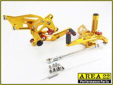 Area 22 Adjustable Rear Sets Footpegs Gold Rearsets Kawasaki Ninja 250R 08-2012