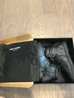 Saint Laurent YSL Black Leather Fringe High Top Sneakers Shoes EU 42 US 9 Worn 1