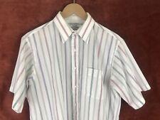 Vtg 1980s Arrow Kent Classic Striped Short Sleeve Shirt Made in Usa Men's Sz 16