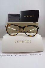 Versace MOD 3224 5148 Havana on Gold New Authentic Eyeglasses 52mm w/Box