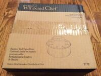 Pampered Chef Bamboo Tool Turn About Utensil Carousel Caddy Retired #2172 NIB