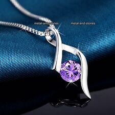 BLACK FRIDAY DEALS Xmas Gifts For Her 925 Silver & Purple Crystal Necklace Women