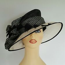 Ladies Formal Hat Wedding Races Mother Bride Black & Cream Angular