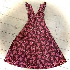 Vintage 1970's Fun Flirty Maxi Pinafore Dress Size 8