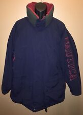 Vintage NAUTICA 90s Puffer Duck Down Nylon Winter Coat Jacket SPELL OUT Size L
