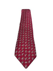 HERMES Paris Pink 100% Silk Monkey Pattern Men's Tie
