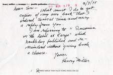 Henry Miller signed letter Als 1978 on his personal stationery