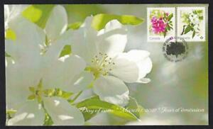 Canada limited edition private FDC, 2021 Crabapple Blossoms, 'P' booklet pair