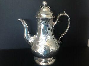 ANTIQUE VICTORIAN SILVER COFFEE POT - 1847