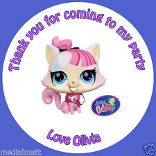Personalised Littlest Pet Shop 35 Round  Stickers Cone Bag party Thank You