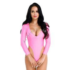 Sexy Women's One Piece Wet Look Bodysuit Catsuit Jumpsuit Thong Leotard Unitards