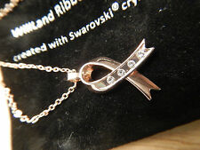 Rose Gold Breast Cancer Foundation Pendant Necklace Swarovski Crystals Retail$95