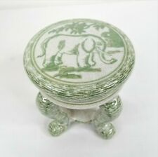 Elephant Plant Stand 6.75 in Green Ivory Decorative Pot Stand Home Decor Jungle