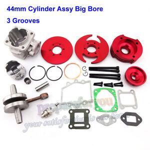 Red 44mm Big Bore Kit Cylinder Assy Pocket Bike 47cc 49cc ATV Minimoto Mini Dirt