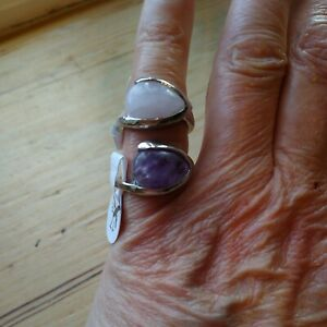 2 Silvertone Rings Natural Rose Quartz  Natural Amerthyst New with DEFECTS sizeM