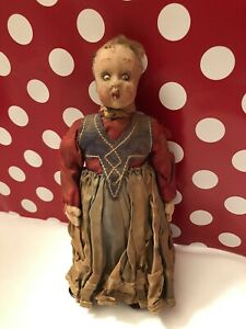 """1920's ? Antique Vintage Lenci ? Italian Doll 9"""" Made in Italy ATTIC FOUND"""