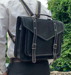 Handmade Genuine Black Leather Messenger Bag Backpack Laptop Satchel Briefcase