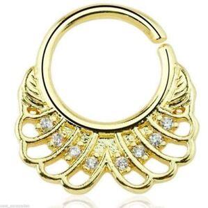 """Septum Captive Gold Plate Fan w/Clear Gems Annealed 16 Gauge 3/8"""" Brass Body"""