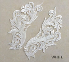 MIRRORED EMBROIDERED WEDDING LACE APPLIQUE PAIR 3523-WD